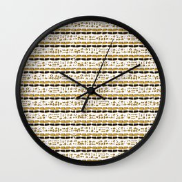 Yellow and White Abstract Drawn Cryptic Symbols Wall Clock