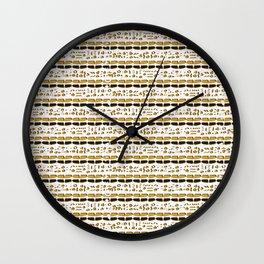 Yellow and White Abstract Drawn Cryptic Symbols Wall Clock