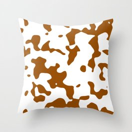 Large Spots - White and Brown Throw Pillow