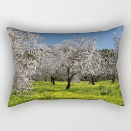 almond orchard in flower Rectangular Pillow