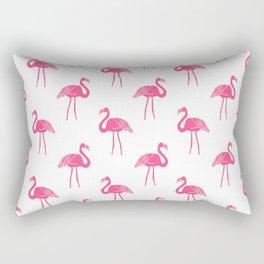 Linocut flamingo tropical bird pattern minimal bird lover summer decor Rectangular Pillow