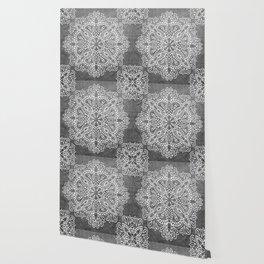 Mandala Vintage White on Ocean Fog Gray Wallpaper