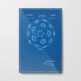 1965 Patent - Buckminster Fuller - Geodesic Structure - Blueprint Style Metal Print