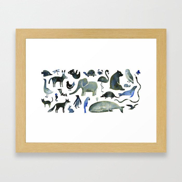Animals in Black (and blue) Framed Art Print