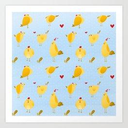 Chubby Chickens Art Print