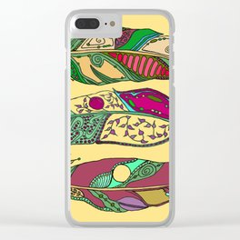 Bohemian Feathers on Honey Yellow - Hand-drawn Illustration Clear iPhone Case