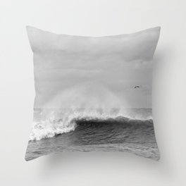 Seaham waves black and white Throw Pillow