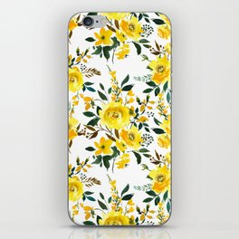 Modern hand painted yellow orange watercolor floral iPhone Skin