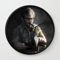 marc johns Wall Clocks featuring Marc Maron by Pavel Sokov