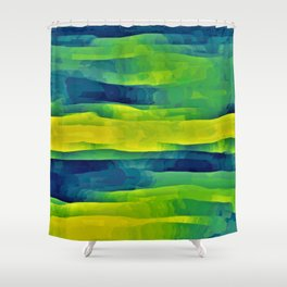 Acid Yellow and Indigo Abstract Shower Curtain