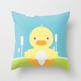 Little duck in pond Throw Pillow