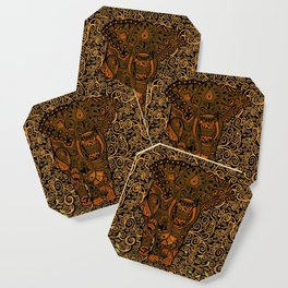 Aztec Elephant With Floral Pattern Coaster