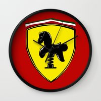 ferrari Wall Clocks featuring Ferrari cute by le.duc