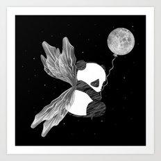 Space Angel Panda Bear - black and white Art Print