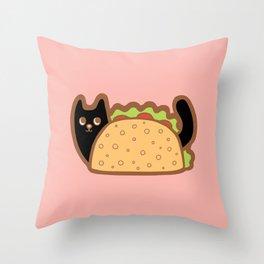 Taco Cat Black Throw Pillow
