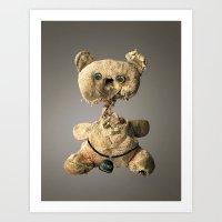 hologram Art Prints featuring Sad Mentalembellisher Poet Teddy Bear With Hologram Eyes by mentalembellisher