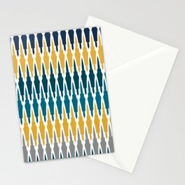 Boho, Geometric Pattern, Blue, Teal, Yellow and Gray Stationery Cards