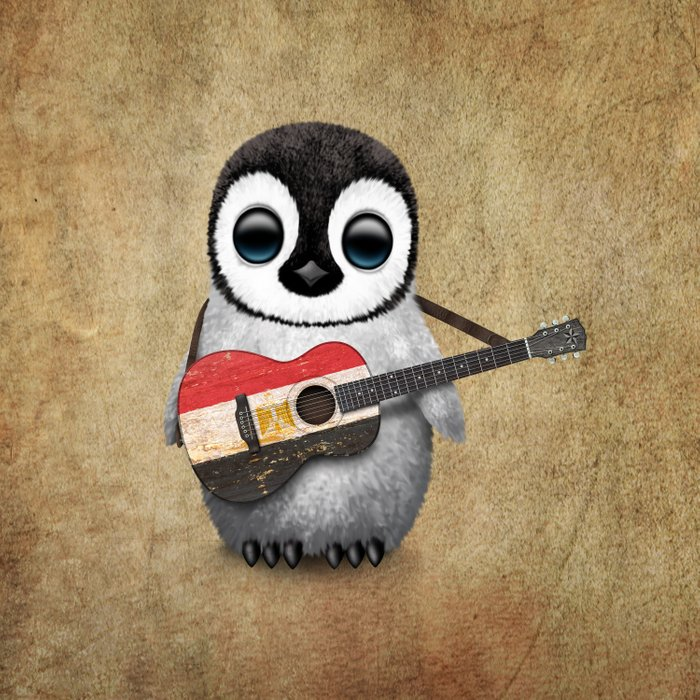Baby Penguin Playing Egyptian Flag Acoustic Guitar Comforters