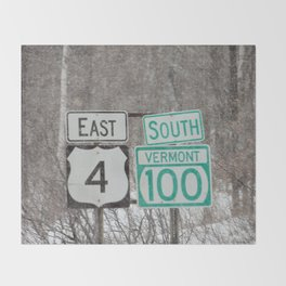 Vermont Street Signs Throw Blanket
