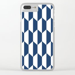 Classic Trapezoid Pattern 236 Navy Blue Clear iPhone Case