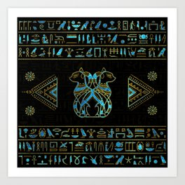 Egyptian Cats Gold and blue stained glass Art Print
