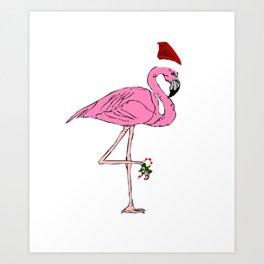 Christmas Have a Flamazing Christmas Flamingo Art Print