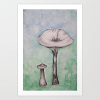 mushrooms Art Prints featuring mushrooms by Diane Nicholson