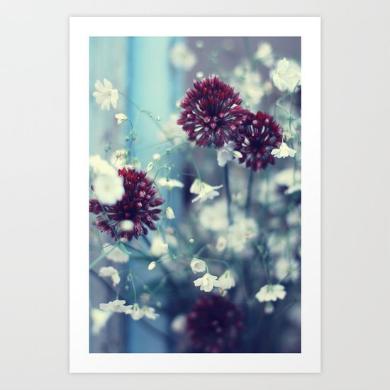 Flowers on Blue Art Print