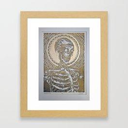 Skeleton Enthroned Framed Art Print