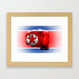 country flag of North Korea fist power war aggression Framed Art Print