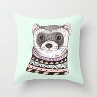 ferret Throw Pillows featuring Hipster Ferret by Indi Maverick