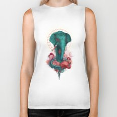Elephant on the mat Biker Tank