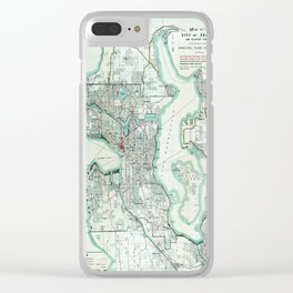 Vintage Topographical Map Seattle Washington Clear iPhone Case