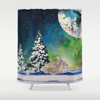 rabbit Shower Curtains featuring Rabbit by Cs025