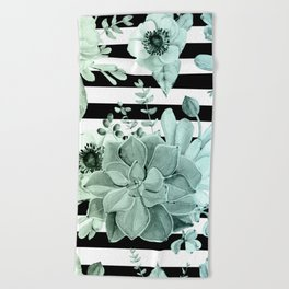 Succulents in the Garden Teal Blue Green Gradient with Black Stripes Beach Towel