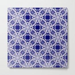 Baroque style blue pattern. Christmas motif. Metal Print