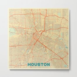 Houston Map Retro Metal Print