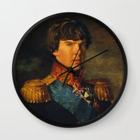 benedict cumberbatch Wall Clocks featuring BENEDICT by John Aslarona