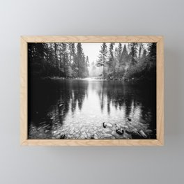 Forest Reflection Lake - Black and White  - Nature Photography Framed Mini Art Print