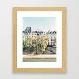 River Seine in Paris, France   lle Saint-Louis, Paris   Parisian Buildings   Travel Photography Framed Art Print