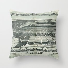 Aerial View of Riverhead, Long Island, New York (1890) Throw Pillow