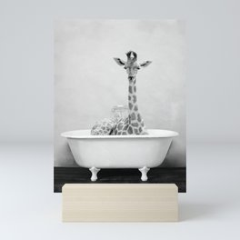 Giraffe Bathitude Mini Art Print