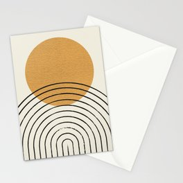 Gold Sun rainbow mid-century full Stationery Cards