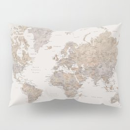 World map with cities in brown and light gray Pillow Sham