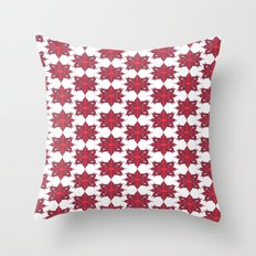 Flowery Red Throw Pillow