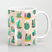 garden Mugs featuring Terrariums - Cute little planters for succulents in repeat pattern by Andrea Lauren by Andrea Lauren Design