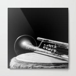 trumpet music aesthetic close up elegant mood art photography  Metal Print