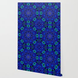 Bright Blue Kaleidoscope Wallpaper