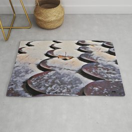 Roof tiles covered in snow and leaves Rug