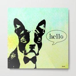 """Hello!"" Boston Terrier Metal Print"
